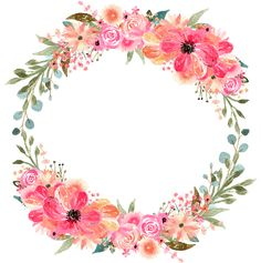Floral Wreath Watercolor, Watercolor Flowers, Floral Watercolor Background, Watercolor Painting, Flower Circle, Flower Frame Png, Wedding Stage Decorations, Flower Graphic, Floral Border