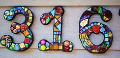 Stained Glass Numbers and Alphabet | Custom Made Stained Glass / Mixed Media Mosaic House Numbers - Wild ...