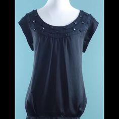 CALVIN KLEIN Black Bead Trim Top Size Medium CALVIN KLEIN Black Bead Trim Top Size Medium Calvin Klein Tops