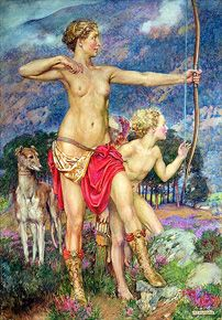 """The Arrow"" [Diana, the Huntress] by Eleanor Fortescue Brickdale Most Popular Artists, John William Waterhouse, English Artists, Diane, Pre Raphaelite, Red Riding Hood, Greek Mythology, Artemis, Gallery"