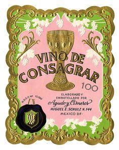 Wine label, Agudo y Cisneros (Mexico), Vino de Consagrar