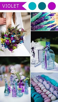 A few bright pops of color! Ria// violet and teal blue peacock themed wedding color ideas #DifferentWeddingIdeas