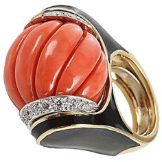 David Webb Carved Coral Ring ($24,200) ❤ liked on Polyvore