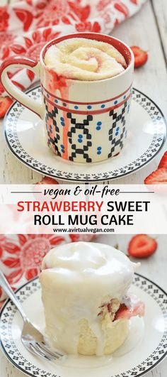 What's big, soft, squidgy, stuffed with sweet, juicy strawberries, drizzled in free flowing, thick, sweet frosting & ready in minutes??  Ummmm....this Strawberry Sweet Roll Mug Cake of course!  via @avirtualvegan