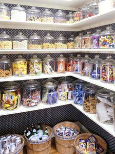 wallpaper in the pantry + glass jar storage - love it!