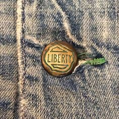 Vtg Liberty Button on Chore Coat