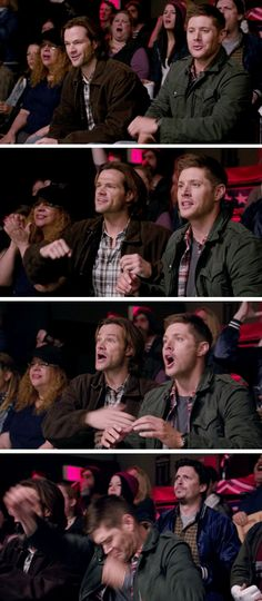 11x15 Beyond The Mat [gifset] - Sam and Dean enjoying the show; Supernatural