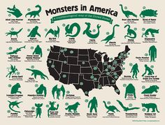 Monster in America cryptozoology map from Hog Island Press: http://www.hogislandpress.com/product/monster-map
