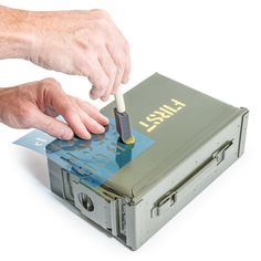 Our military style stencil kit includes three solvent resistant Mylar sheets with tall capital letters, numbers and basic punctuation. Customize your Quadratec Ammo Storage Boxes to indicate contents. Cleanable with paint solvents for reuse. Wood Crates, Wood Boxes, Military Box, Military Style, Cool Tools, Diy Tools, Ammo Storage, Storage Boxes, Woodworking Shop