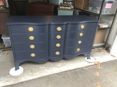 Drexel serpentine front dresser painted in Fusion Midnight blue, cleaned and polished original hardware. Homestead House clear wax. Nest Vintage Home Decor
