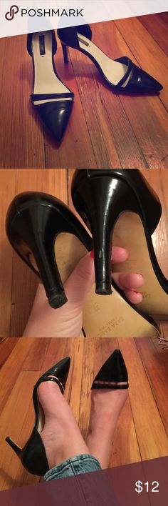 Classic and fun Zara patent black pumps Sz 39/8 Super cute and comfy heels with low heel (about 3in) black patent material. One scuff on the back left heel, worn but good condition. Please see photos for best description! Zara Shoes Heels