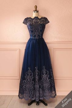 Dotterine Navy - Navy blue embroidered tulle gown