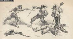 Un double duel, gravure issue de l'ouvrage Histoire de France, par François GUIZOT, France, 1875.