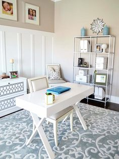 We love how clean this room looks with white and gray. #home #decor http://www.ivillage.com/cheap-and-easy-diy-home-decor-ideas/7-b-509166#512562