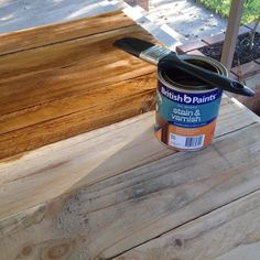 It's crazy what a good stain and varnish can do! I am in no way sponsored or tied to @britishpaints but I genuinely love their products. I love seeing the contrast while I'm painting the stain & varnish makes such a big difference - to the point where some people don't even believe me when I tell them it's pallet wood  #woodworking #stainandvarnish #paintingwood #britishpaints #pallet #palletfurniture #prestigepallets by prestigepallets Pallet Wood, Wood Pallets, British Paints, Paint Stain, The Prestige, Pallet Furniture, Contrast, Woodworking, Big