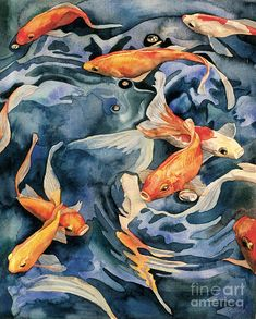 Swirling Goldfish Painting Painting by Linda Wells - Swirling Goldfish Painting Fine Art Prints and Posters for Sale