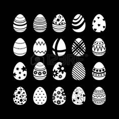 Black and White Easter egg set patterns textures photo