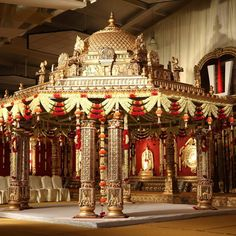 Its not easy finding exclusive Mandap Decor Ideas for your Indoor Wedding! We bring you ideas and inspirations to make your dreams come true. Indoor Wedding Decorations, Desi Wedding Decor, Wedding Stage Design, Luxury Wedding Decor, Wedding Mandap, Temple Wedding, Backdrop Decorations, Wedding Receptions, Wedding Entrance Decoration