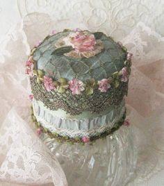 Handmade OOAK Antique Looking Boudoir Trinket Box - Ribbonwork, French Antique Lace , Antique Metallic Mesh, Vintage Ribbons