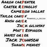 Aaron Carpenter, Carter Reynolds, Cameron Dallas, Taylor Caniff, Nash Grier, Jack Gilinsky, Matt Espinosa, Hayes Grier, Jack Johnson and Shawn Mendes, MagCon Boys