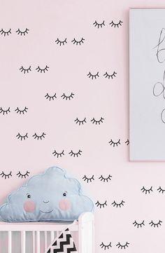 Sleepy eyes decal sleepy eyes decor blinky eye by StudioPicco Pattern Wall, Wall Patterns, Nursery Wall Stickers, Wall Decals, Lash Room, Sleepy Eyes, Cute Baby Girl, Textured Walls, Girl Nursery