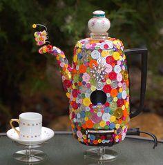 "Birdhouse Garden Art- ""HAPPY DAY!""  (teapot coffeepot vintage up-cycling recycled metal garden folk art home decor Decorative)"