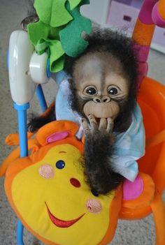 OOAK Reborn Monkey Chimpanzee Baby Boy Art Doll Primate Ape Original | eBay