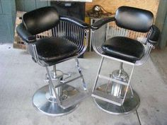 Vintage Salon Chairs for Sale | Salon/barber chairs 1970s black and chrome w/spoke design for Sale ...