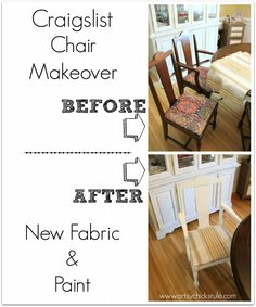 Craigslist Chair Makeover - New paint, new fabric, completely new look!!  - artsychicksrule.com #nosew