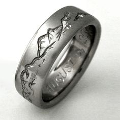 mens mountain wedding band styles | Titanium Wedding Ring by Exotica Jewelry