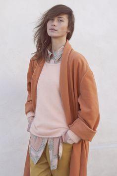 Warm neutrals; printed shirt, sweater, cardigan (blazer?)
