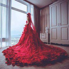 Barato Custom Made vestidos De casamento Vestido De Noiva vermelho nova chegada com pétalas De rosa luxo cauda longa vestidos De casamento vermelho 2016, Compro Qualidade Vestidos de noiva diretamente de fornecedores da China:           Lembrete morno 1: quando você escolher este vestido, por favor comparar seu tamanho com tamanho ac