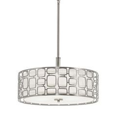 Kichler Lighting Sabine 17.99-in W Brushed Nickel Hardwired Standard Pendant Light with Fabric Shade