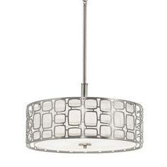 Kichler Lighting Sabine 17.99-in W Brushed Nickel Hardwired Standard Pendant Light with Fabric Shade