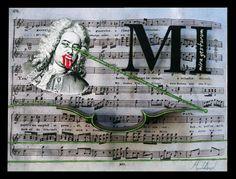 """MI (Mira gestorum)  Collage y óleo sobre tabla intervenida con impresión digital y sección de Violín.  30x40  Obra de la serie """"7 notas"""" del proyecto SEPTIES SEPTEM. http://septiesseptem.blogspot.com.es/"""