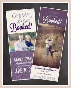 Printable Save the Date Bookmarks, Purple. custom colors available!