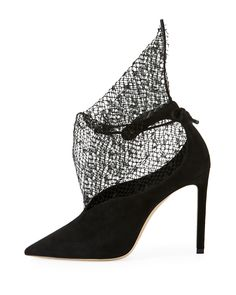 Jimmy Choo Leanne Suede Pumps with Sculptural Netting 7ce5548d980