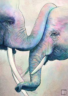 Elephant Love by SuperPhazed (print image) Animal Paintings, Animal Drawings, Art Drawings, Elephant Paintings, Elephant Artwork, Elephant Drawings, Watercolor Elephant Tattoos, Elephant Illustration, Happy Elephant