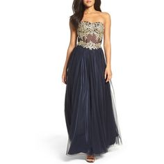 Women's Blondie Nites Strapless Bustier Gown ($259) ❤ liked on Polyvore featuring dresses, gowns, strapless evening gown, blondie nites dresses, strapless bustier, strapless dresses and bustier dress