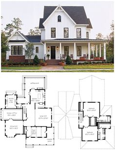 This plan includes my changes. Original at the link. While I love the modernish farmhouse look of this one and the footprint (minus the garage - weird personal preference), I changed this one a lot. I can't stand houses that have lots of small rooms. To me they feel choppy and stuffy. Give me fewer, bigger rooms with good flow and light. (The new measurements are slightly approximate.)
