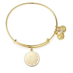 Zest for Life Charm Bangle | Alex's Lemonade Stand, Shiny Gold Finish (670 MXN) ❤ liked on Polyvore featuring jewelry, bracelets, accessories, alex and ani, bangles, shiny gold finish, bracelets bangle, charm bracelet bangle, polish jewelry and hinged bracelet