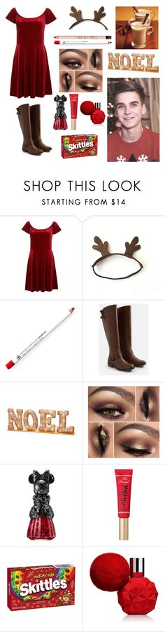 """""""Christmas Party with Joe"""" by kain-loves-shawn ❤ liked on Polyvore featuring Miss Selfridge, Obsessive Compulsive Cosmetics, JustFab, National Tree Company and Anna Sui"""