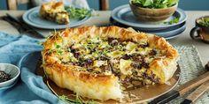 Sopp-pai med brie og bacon Tempura, Portobello, Quiche, Bacon, Food And Drink, Pizza, Cooking Recipes, Snacks, Breakfast