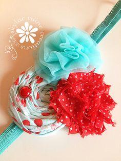 HOLIDAY Headband   Aqua & Red Headband  Christmas by skylarraine, $12.50