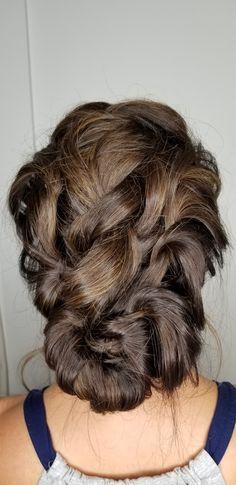 Looped messy updo #brunette #bridalupdo #weddings