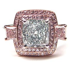 1.67ct Fancy L. Blueish Green Diamond Ring - Magnificent GIA certified Natural Fancy Light Blueish Green Diamond Ring - a spready make like 2ct measurements. Mounted on custom handmade platinum with GIA certified .50ct t/w Fancy Pink and micro pave. A rare natural blue-green combination on an impressive design mounting.