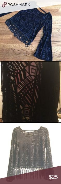 """Monteau semi crop bell-sleeve blouse Sheer black polyester/nylon semi crop bell-sleeve blouse. Shoulder to bottom on top is 18.5"""" (not including the fringe). Arm length 18"""". cute fabric piece across upper back, fringe detailing. Some of the fringe is missing. Monteau Tops Blouses"""