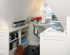 Small attic ideas | Small And Simple Attic Home Office Design Image