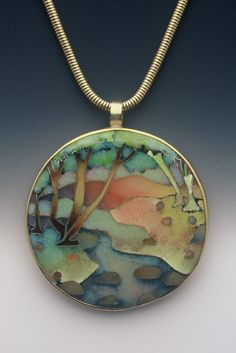 """Stream"" ~ Fine Cloisonne Enamel & Gold Pendant by Linda Lundell, American Artist specialising in Oil Paintings & Fine Cloisonne Enamels . Jewelry Crafts, Jewelry Art, Beaded Jewelry, Jewelry Necklaces, Jewelry Design, Bracelets, Jewellery, Enamel Jewelry, Pendant Jewelry"