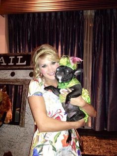 Bella Rose wearing a Orostani Couture gown with Carrie Underwood at Oklahoma's Fur Ball.